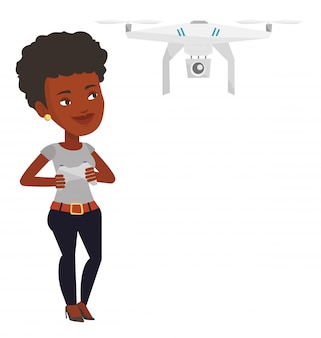 Woman flying drone  .