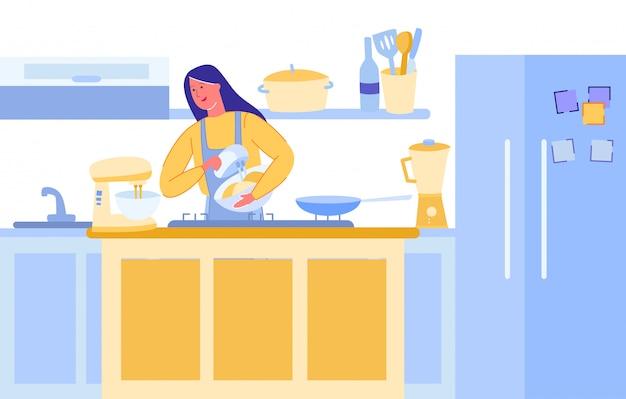 Женщина еды blogger приготовление пищи в современной кухне.