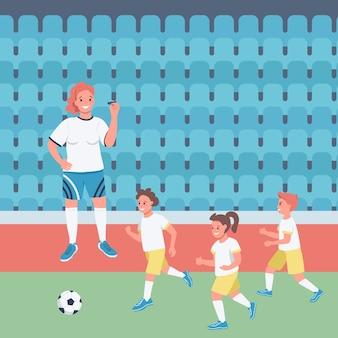 Женщина футбольный тренер плоская цветная иллюстрация