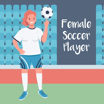 Woman footballer social media post  . female soccer player phrase. web banner design template.