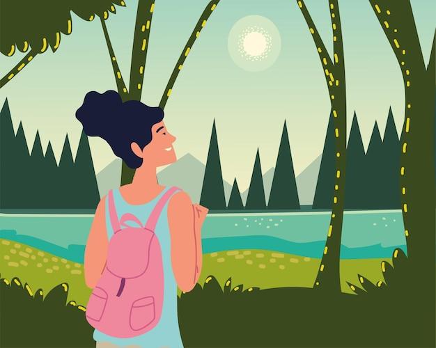 女性の森のジャングルの木川の太陽