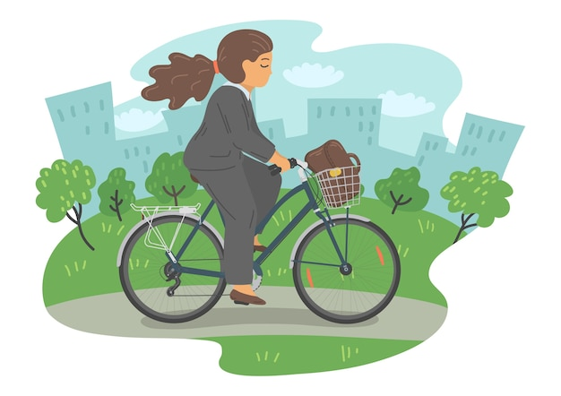Woman in formal clothes on bike with basket. businesswoman with bag cycling in the city park. Premium Vector