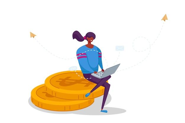 タスクを考えて黄金のコインの巨大な山に座ってラップトップに取り組んでいる女性のフリーランサーのキャラクター。