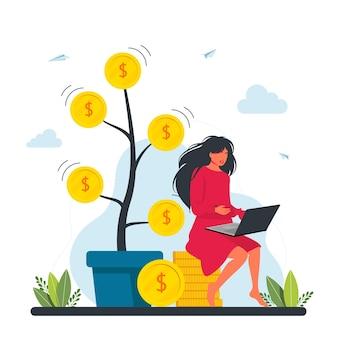 金のなる木、ドル紙幣が枝にぶら下がっている巨大な鍋の近くの黄金のコインの山に座ってラップトップに取り組んでいる女性フリーランサーのキャラクター。お金を稼ぐフリーランサー、投資、成長の概念