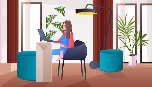 Woman freelancer sitting on chair and using laptop social media network online communication concept living room interior horizontal