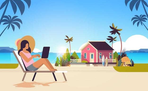 Woman freelancer sitting remote working