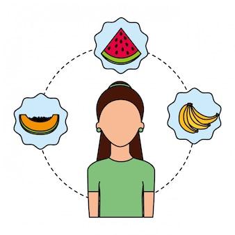 女性の新鮮な果物の栄養食
