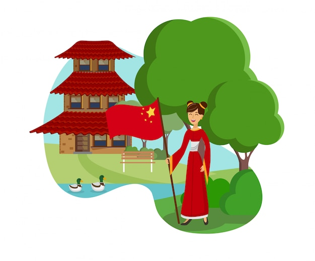 Woman from china flat color vector illustration