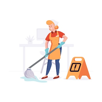 Woman from cleaning company staff cleans the office with a mop with water. illustration in a flat style.