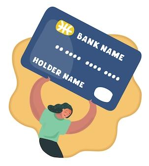 Женщина разочарована тяжелым бременем задолженности по карте
