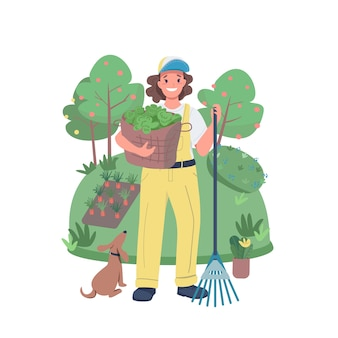 Woman gardener flat color detailed character. agricultural worker. farmworker. cheerful female farmer with harvest isolated cartoon illustration for web graphic design and animation