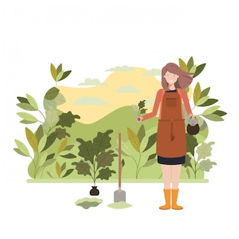 Woman gardener with landscape avatar character