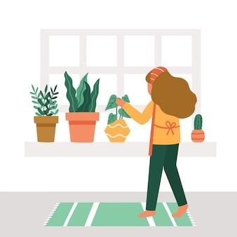 Donna che fa il giardinaggio a casa illustrata