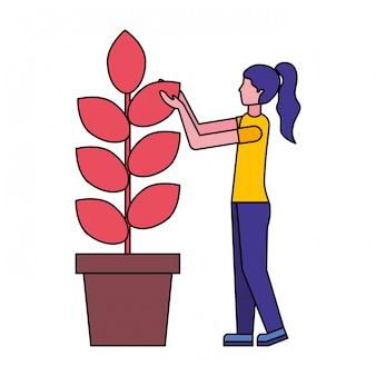 Woman gardening plant on pot Premium Vector
