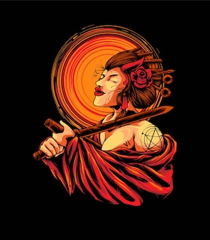 Woman geisha seppuku illustration. suitable for t-shirt or merchandise products