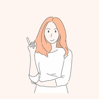 Женщина жестикулирует рукой, указывая или показывая на что-то в настоящее время, рекламная концепция.