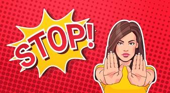 女性身振りで示すことまたは一時停止の標識ポップアートスタイルバナードット背景