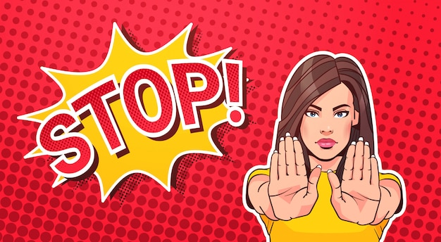 Woman gesturing no or stop sign pop art style banner dot background