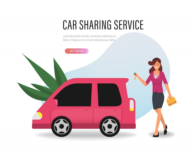 Woman get a car sharing service.