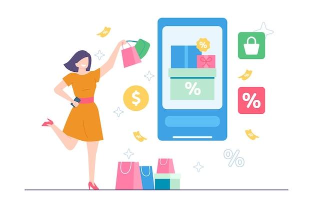 Женщина получает скидку от illustraton электронной коммерции