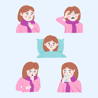 Woman get sick illustration