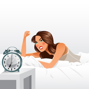 Woman getting angry about waking up early. morning alarm clock.