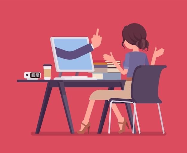 컴퓨터에서 길을 잃는 여자