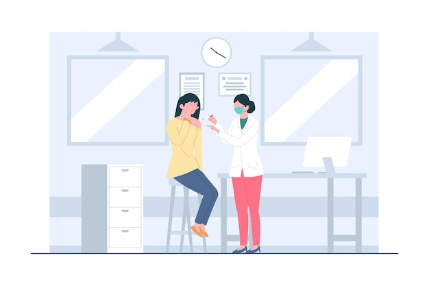 A woman getting vaccinated by doctor scene illustration