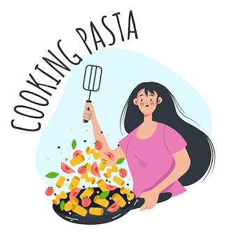 パスタと野菜を調理する女性の女の子のキャラクターベクトルフラット漫画グラフィックデザインイラスト
