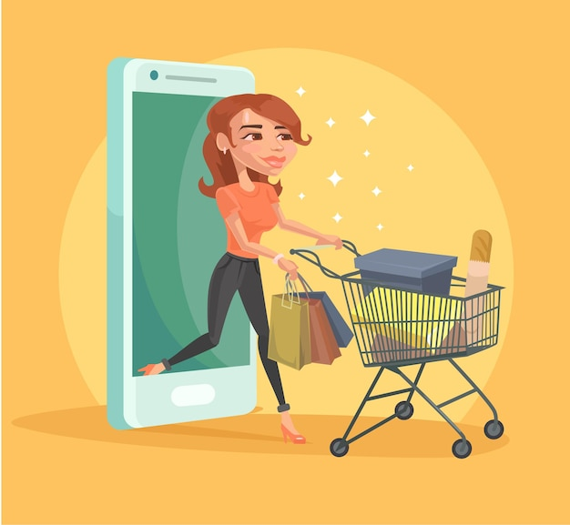 Woman girl character making shopping online by internet smartphone