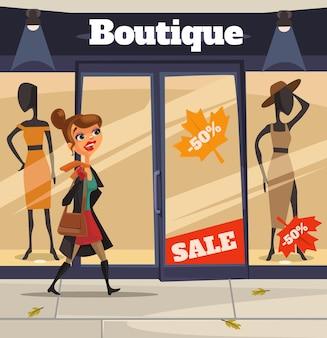 인터넷 스마트 폰으로 온라인 쇼핑을 만드는 여자 여자 캐릭터