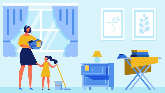 Woman and girl clean apartment.