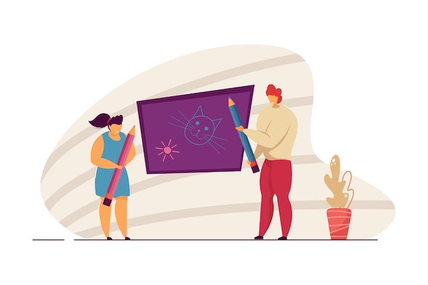 Woman and girl drawing on blackboard. mother and daughter doodling funny things together. cute little girl painting with mommy. family leisure concept for website design