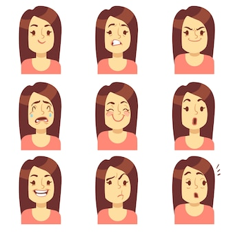 Женщина, девушка лицо эмоции выражение вектор аватара значки. эмоциональный грустный и злой, несчастный и страх