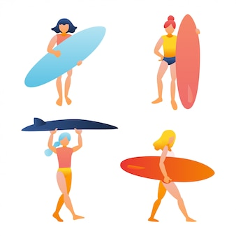 Женщина, девочка, держащая доску для серфинга