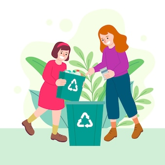 Woman and girl recycling
