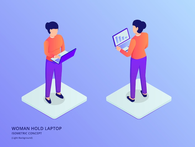 Woman or girl using laptop standing with isometric flat style