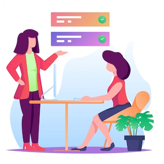 Woman give task flat illustration
