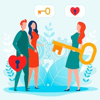 女性は愛の鍵を開けるために鍵穴からカップルの鍵を与える