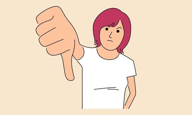 Женщина показывает большие пальцы руки вниз