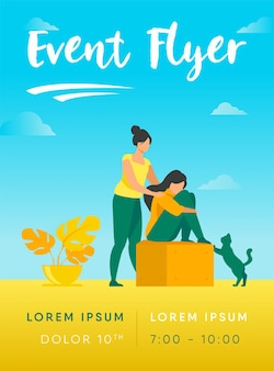 Woman giving comfort and support to friend, keeping palms on her shoulder flyer template