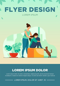 Woman giving comfort and support to friend, keeping palms on her shoulder. girl feeling stress, loneliness, anxiety. vector illustration for counseling, empathy, psychotherapy, friendship concept