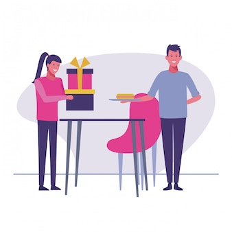 Woman giving gift to male vector illustration graphic design