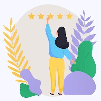 評価イラストを与える女性