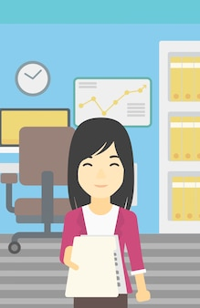 Woman giving resume vector illustration.