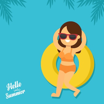 Woman go to travel in summer holiday, beautiful woman relaxing on a rubber ring in the sea. hello summer