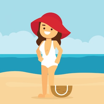 Woman go to travel in summer holiday, girl wearing swimsuit and big hat