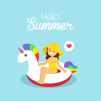 Woman go to travel in summer holiday, girl wearing swimsuit swimming on the inflatable unicorn