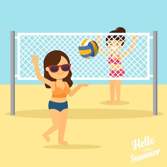 Woman go to travel in summer holiday,girls playing volleyball on the beach