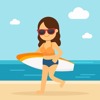 Woman go to travel in summer holiday